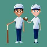 Couple player baseball cap glove bat and ball Stock Photo