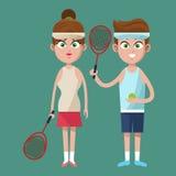 Couple player tennis racket ball uniform wearing Stock Photos