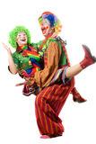 A couple of playful clowns Stock Images