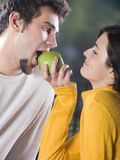 Couple playfully eating apple. Happy yound couple playfully eating apple Stock Image