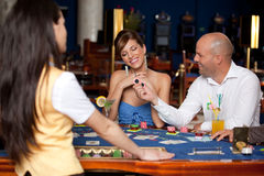 Couple playing blackjack Stock Photo