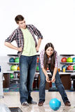 Couple playing bowling Royalty Free Stock Photo