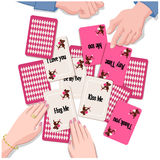 Couple with playing cards of  Love message. Couple playing Love message card. Valentine's day. Cupid.  Gradients, Transiparency, Clipping mask is used in the Stock Images