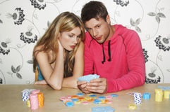 Couple Playing Cards Royalty Free Stock Images