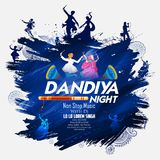 Couple playing Dandiya in disco Garba Night poster for Navratri Dussehra festival of India. Illustration of couple playing Dandiya in disco Garba Night poster Stock Photography