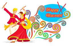 Couple playing Dandiya on Navratri stock illustration