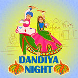 Couple playing Garba in Dandiya Night Navratri Dussehra festival Royalty Free Stock Photo
