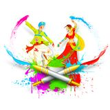 Couple Playing Holi. Illustration of couple playing Holi with color and pichkari royalty free illustration