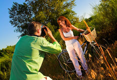 Couple playing outside Royalty Free Stock Photos