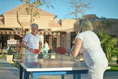Couple playing ping pong Stock Photography