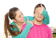 Couple playing robbery game Stock Image