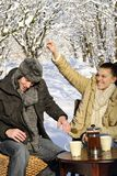 Couple playing with snow Royalty Free Stock Photo