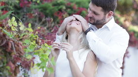 Couple playing surprise stock footage