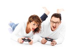 Couple playing videogames Royalty Free Stock Photography