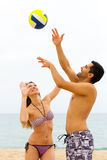 Couple playing volleyball Royalty Free Stock Photo