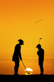 Couple plays golf. Illustration of a couple plays golf Royalty Free Stock Photo