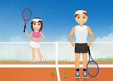 Couple plays tennis. Illustration of couple plays tennis Stock Images