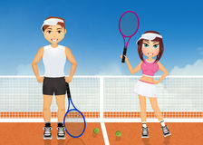 Couple plays tennis. Illustration of couple plays tennis Stock Photography