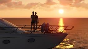 Couple on a pleasure boat Stock Photos