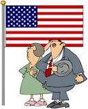 Couple Pledging Allegiance. This illustration depicts a man & woman pledging allegiance to the American flag Stock Photos