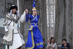 Couple on the podium in Ulan Bataar festival Royalty Free Stock Photo