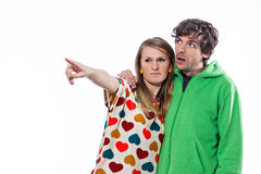 Couple pointing Royalty Free Stock Images