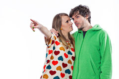Couple pointing Stock Photography