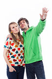 Couple pointing Stock Photos