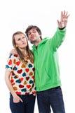 Couple pointing Stock Photos