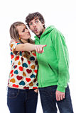Couple pointing Stock Images