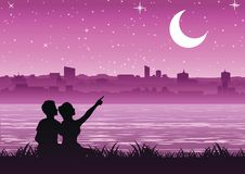 Couple pointing to the moon above the city near a riverside, si stock illustration