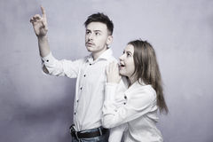 Couple pointing Royalty Free Stock Image