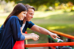 Couple at pond Royalty Free Stock Photography