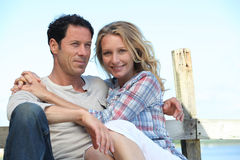 Couple on a pontoon Royalty Free Stock Photo