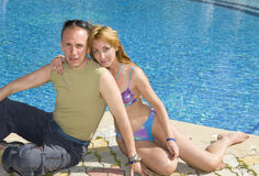 couple  at pool Royalty Free Stock Photos