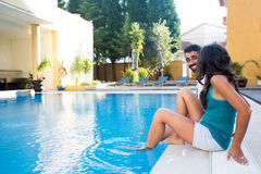 Couple in pool Stock Photo