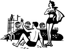 Couple On Pool Deck Stock Photo