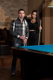 Couple Pool Player Royalty Free Stock Photography