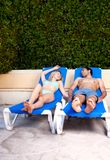 Couple Pool Side Stock Images