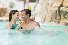 Couple in the pool Royalty Free Stock Photography