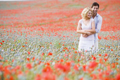 Couple in poppy field embracing and smiling.  royalty free stock images