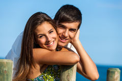 Couple portrait at beach. Royalty Free Stock Images