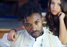 Handsome couple portrait romance relationship romantic man looking. Couple portrait glamour romance handsome men and women elegant look Stock Images