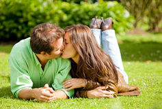 Couple portrait kissing Royalty Free Stock Photography