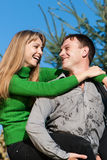 Couple portrait smiling outdoors Royalty Free Stock Photography