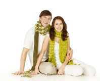 Couple Portrait In Woolen Scarf,  White Background Royalty Free Stock Image