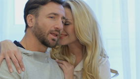 Couple poses at home stock video footage