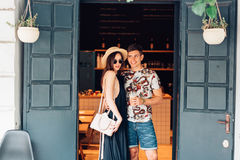 Couple posing in the doorway Royalty Free Stock Image
