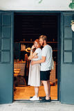 Couple posing in the doorway Royalty Free Stock Photography