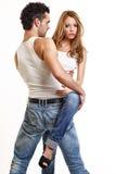 Couple Posing On White Background Stock Image